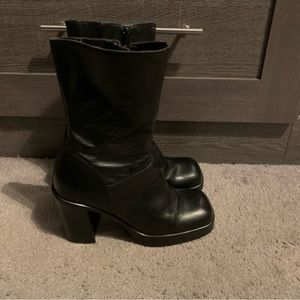 Steve Madden Chunky Black Mid-Calf Boots Size 7